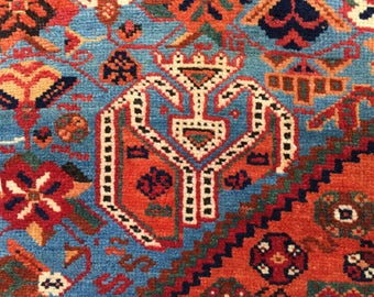 Rare Antique Persian Afshar Rug 5x9ft Sky Blue Indigo Apricot Tribal Rug c.1910