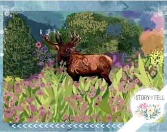 """Note card: Based on my original watercolor """"An Elk in the Moment"""", Paper & Party Supplies, Art and Collectibles, Stationary, Art, Wildlife"""