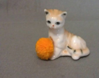 Beige Cat with with Tan and Grey with Orange Furry Ball Cat Figurine