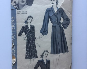 1940s vintage Hollywood patterns 731 betty grable sewing pattern