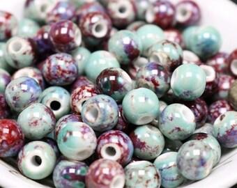 50 x art hollow ceramic beads