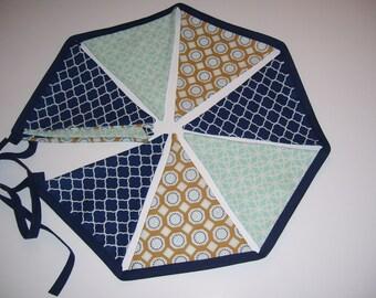 GEOMETRIC BUNTING  - blue, aqua & beige bunting - home decor - home decoration - geometric bunting - geometric garland - geometric decor