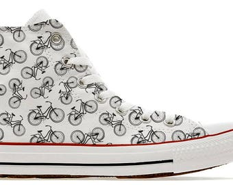 illustrated bicycle pattern custom converse high top shoes