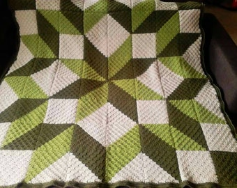 "Crochet Blanket Throw Handmade Patchwork Carpenter's Wheel 51"" 130cm Square colour of the year 2017"
