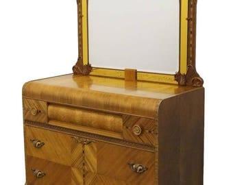 1940's Antique Ornate Art Deco Walnut Dresser and Mirror