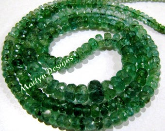 Pack of 10 Beads- 100% Best Quality Natural Emerald Beads, Zambian African Emerald Beads, Size 2.5 to 5mm YOU CHOOSE, Rondelle Faceted Beads