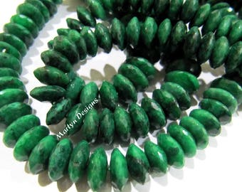 Top Quality Natural Emerald Faceted Gemstone Beads , German Cut Rondelle Shape Precious Beads 8-12 mm , Strand 8 inches , Graduated Beads