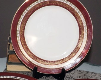 SET of 3 almost antique (c.1920s) Myott & Sons   Myott New Hampshire 2734 BU hand-painted luncheon or breakfast plates.