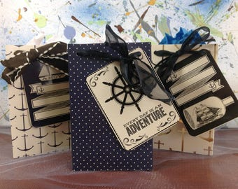 Gift bag set, jewelry bags, set of 3, nautical gift bags