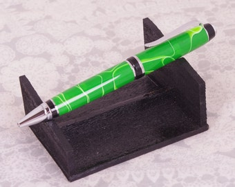 Custom Hand Turned Cigar Ballpoint Pen with Lime Water Acrylic
