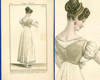Corset!! Rare antique Regency fashion print 'Corset sans busc lace par devant' underwear chemise Costume Parisien