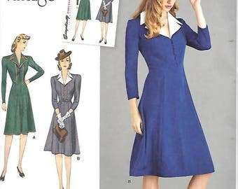 Misses Vintage 1940's Dress, Size 14 Thru 22, New Simplicity Pattern 8050