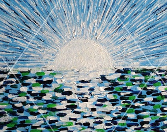 Blue sunrise. Energy painting.