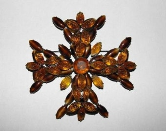 Kenneth Lane Poured Glass Gripoix Maltese Cross Pin