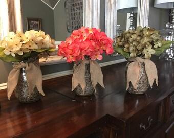 Hydrangea~Set of 3~Hydrangea Decorative Jars~Floral Arrangement~Mason Jar~Hydrangea Bloom~Home Decor~Spring Decor