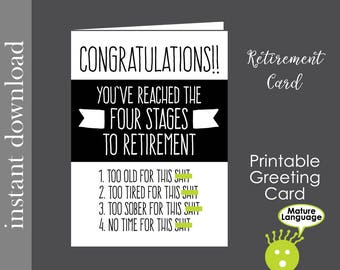 Retirement Card, Printable Card, funny retirement, boss retire card, co worker card, retirement printable, snarky, mature language, diy card