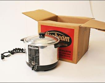 Vintage SUNBEAM FRYER COOKER CF5 with Original Box deep fryer chrome kitchen 50s 60s home eichler prop