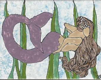 Mermaid #255 Floating in Sea Grass Hand Painted Kiln Fired Decorative Ceramic Wall Art Tile 6 x 8