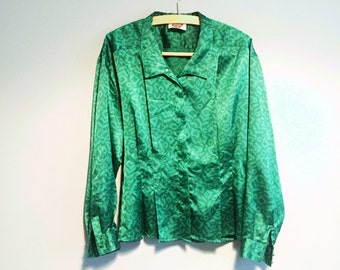 Elegant Vintage 80s green Jacques Vert patterned blouse