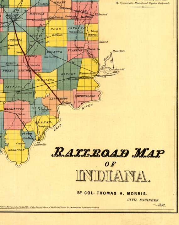 Indiana Railroad Map Old Indiana Map Indiana Counties Map - Old us railroad map