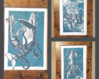 Set of Three Nautical Lino Prints