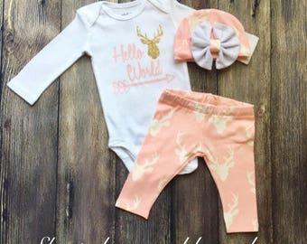 Newborn girl coming home outfit, baby girl homecoming outfit, baby shower present, newborn clothing set, deer head baby pants, deer leggings