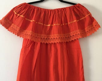 Campesina mexican orange blouse