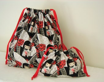 Set of 2 Kimi Doll  printed Cotton Bags, Travel Bag, Laundry Bag, Accessory Bag, Overnight Bag, Toy Bag, Underwear Bag, Library Bag, Utility