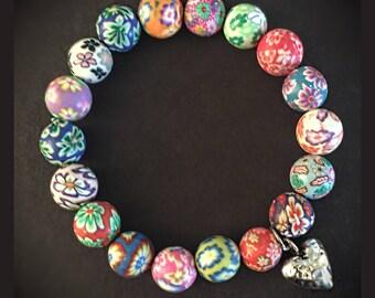 Children's Clay Beaded Heart Bracelet