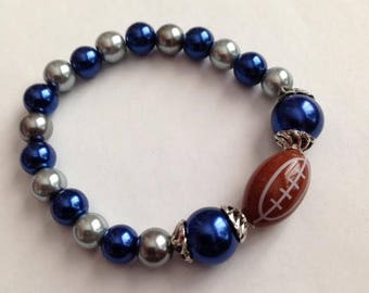Blue and Silver Football Bracelet, Blue and Gray Football Bracelet, Football Bracelet, Sports Bracelet,Ships From USA