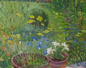 Pat (Patricia) Algar Original Oil Painting - Garden Scene With Flower Pots