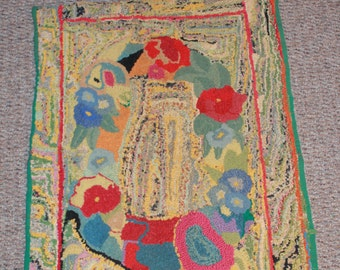 Vintage 1950-60's Folk Art Handhooked Rug with Flowers and Abstracts