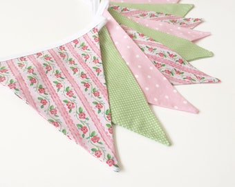 Shabby Chic Bunting, Pink and Green Banner, Garden Party Banner,  Floral Bunting banner, Fabric Bunting Banner, Rustic Floral, Nessa Foye