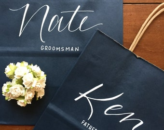 Groomsman Gift Bag, Bridesmaid Gift Bag, Groomsmen, Personalized Gift Bag, Navy, White, Customized, Christmas