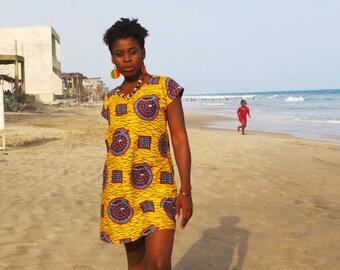 Snails and Ladders Dress // T-shirt Dress // African Print Dress // Festival dress // Summer dress // Yellow // Patterned dress