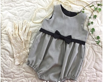 Baby girls classic houndstooth romper