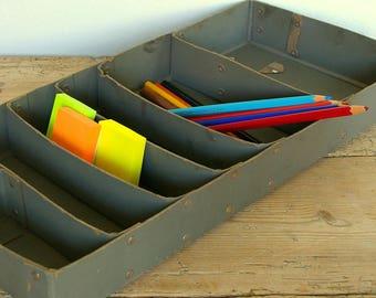 Vintage organizer catchall.Desk organizer divided box.Office storage.Studio organizer storage.Washi tape organizer.Mail organizer