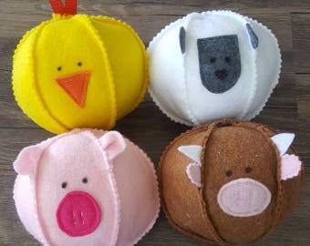 Barnyard Balls {Set of 4 Ball Shaped Animals}
