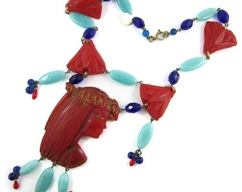 Vintage re-worked Galalith and Bead Egyptian Revival Necklace