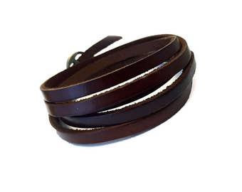Bracelet man's cuff leather dark brown long strap 1 meter