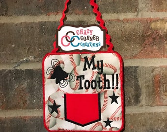 READY TO SHIP-tooth fairy door hanger-tooth fairy-baseball tooth fairy-baseball tooth fairy soor hanger