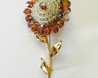 "Vintage Vendome Brooch, Signed Vendome, Vendome Flower Pin, Vintage Coro, Topaz Crystals, Gold Tone, Large Flower Brooch, 4 1/2"" x 2"" W"
