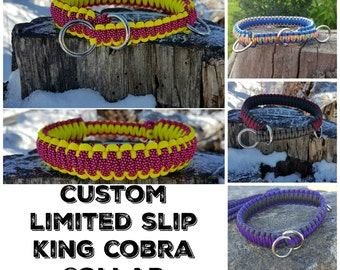 Custom Paracord Limited King Cobra Slip CollarRope Dog Martingale Collar -Custom Colors