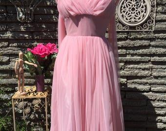 Pink Chiffon Party Dress * XS * Kawaii Pastel