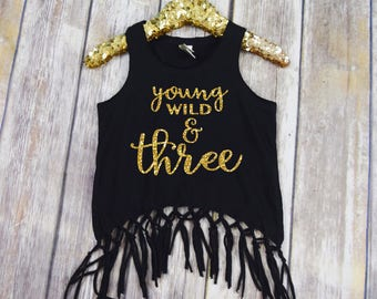 Birthday Shirt 3 - Young Wild and Three Fringe Tank - 3 Year Old Birthday Tank Top - 3 Year Old Birthday Shirt - Girls Boho Fringe Top