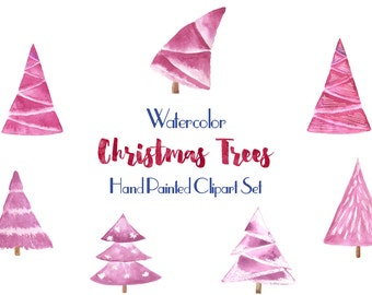 Watercolor clipart: Christmas tree Pink, Christmas tree clip art set, Merry Christmas illustrations