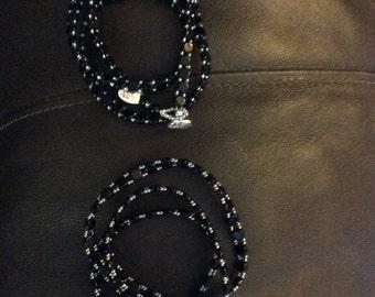Black hexagon beaded wrap bracelets
