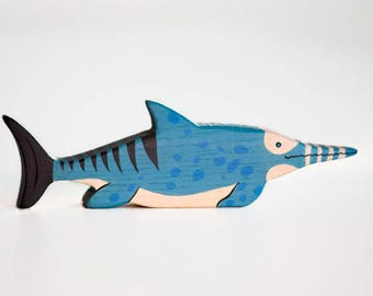 Wooden ichthyosaurus toy Dinosaur figurine Play Set for boys Pre-historic animals Pretend play Learning toys for toddlers