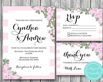 Pink Wedding Invitation Set, Wedding Invitation Printable, Bridal Shower, Baby Shower, Personalized, Wedding Invitation Suite WD64  WI12