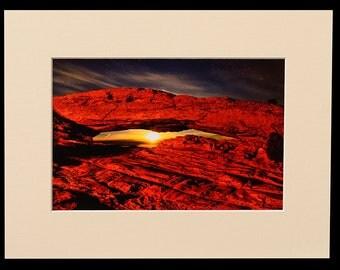 Canyonlands National Park Mesa Arch Moonshine Matted Fine Art Giclee Print, Modern Wall Art Featuring Fine Art Nature Photography